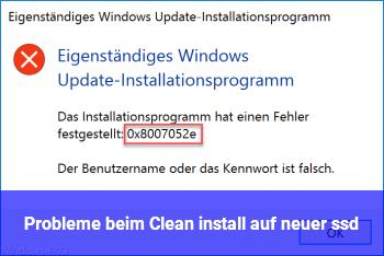 Probleme beim Clean install auf neuer ssd