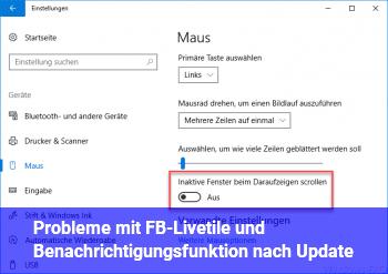 Probleme mit FB-Livetile und Benachrichtigungsfunktion nach Update