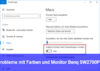 Probleme mit Farben und Monitor Benq SW2700PT