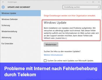 Probleme mit Internet nach Fehlerbehebung durch Telekom