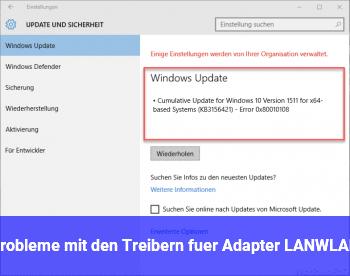 Probleme mit den Treibern für Adapter LAN/WLAN