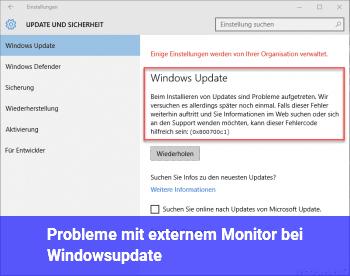 Probleme mit externem Monitor bei Windowsupdate