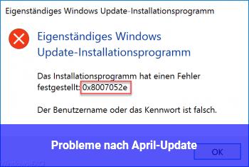 Probleme nach April-Update