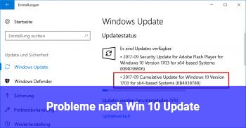 Probleme nach Win 10 Update