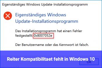 Reiter Kompatibilität fehlt in Windows 10