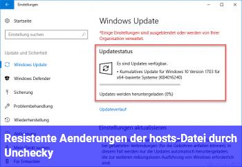 Resistente Änderungen der hosts-Datei durch Unchecky