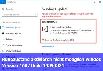 Ruhezustand aktivieren nicht möglich Windos Version 1607 Build 14393.321