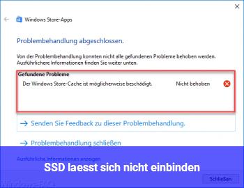 SSD lässt sich nicht einbinden