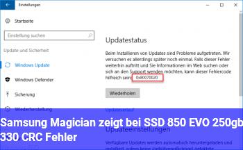 Samsung Magician zeigt bei SSD 850 EVO 250gb, 330 CRC Fehler