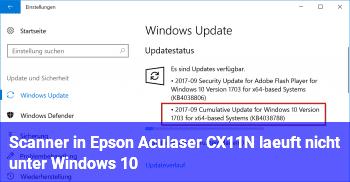 Scanner in Epson Aculaser CX11N läuft nicht unter Windows 10