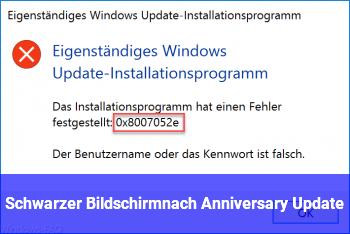 Schwarzer Bildschirmnach Anniversary Update
