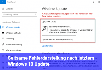 Seltsame Fehlerdarstellung nach letztem Windows 10 Update