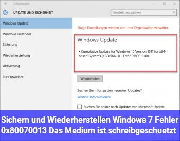 """""""Sichern und Wiederherstellen (Windows 7)"""" Fehler 0x80070013 """"Das Medium ist schreibgeschützt"""""""