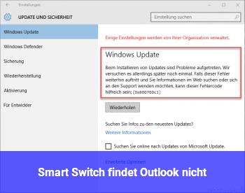 Smart Switch findet Outlook nicht