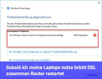 Sobald ich meine Laptops nutze, bricht DSL zusammen, Router restartet
