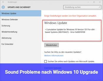 Sound Probleme nach Windows 10 Upgrade