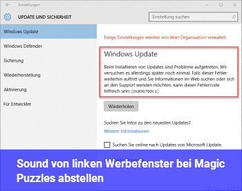 Sound von linken Werbefenster bei Magic Puzzles abstellen.