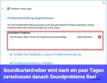 Soundkartentreiber wird nach ein paar Tagen zerschossen, danach Soundprobleme. (Real)