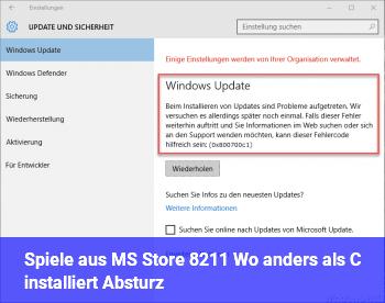 Spiele aus MS Store – Wo anders als C: installiert = Absturz