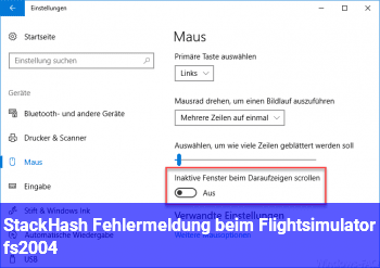 StackHash Fehlermeldung beim Flightsimulator fs2004
