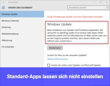 Standard-Apps lassen sich nicht einstellen