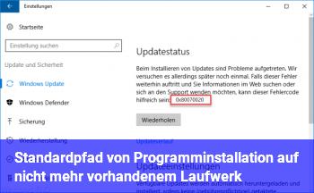 Standardpfad von Programminstallation auf nicht mehr vorhandenem Laufwerk