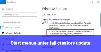 Start menü unter fall creators update