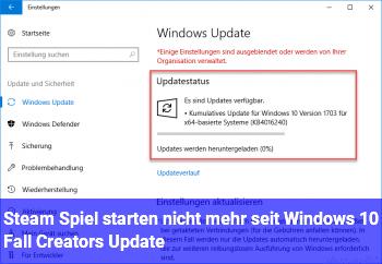 Steam Spiel starten nicht mehr seit Windows 10 Fall Creators Update