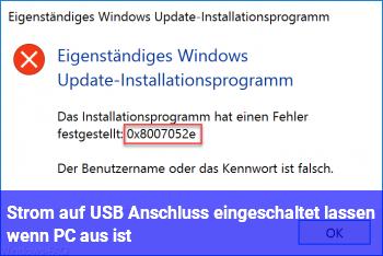Strom auf USB Anschluss eingeschaltet lassen wenn PC aus ist