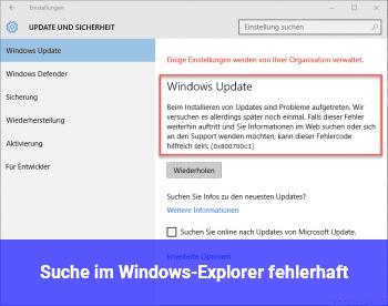 Suche im Windows-Explorer fehlerhaft