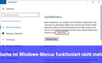 Suche im Windows-Menü funktioniert nicht mehr