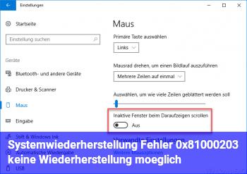 Systemwiederherstellung Fehler 0x81000203, keine Wiederherstellung möglich