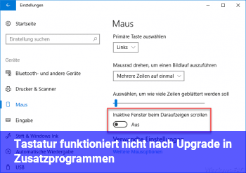 Tastatur funktioniert nicht nach Upgrade in Zusatzprogrammen