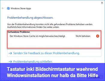 """Tastatur (inkl. Bildschirmtastatur) während Windowsinstallation """"nur halb"""" da! Bitte Hilfe!"""