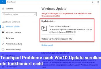 Touchpad Probleme nach Win10 Update (scrollen etc funktioniert nicht)