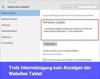 Trotz Internetzugang kein Anzeigen der Websites (Tablet)