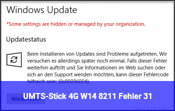 UMTS-Stick 4G W14 – Fehler 31