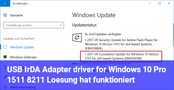 USB IrDA Adapter driver for Windows 10 Pro 1511 – Lösung hat funktioniert