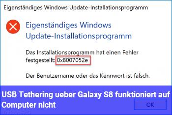 USB Tethering über Galaxy S8 funktioniert auf Computer nicht