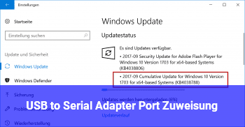 USB to Serial Adapter, Port Zuweisung
