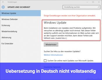 Übersetzung in Deutsch nicht vollständig
