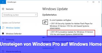 Umsteigen von Windows Pro auf Windows Home.