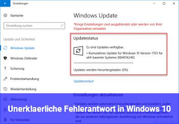 Unerklärliche Fehlerantwort in Windows 10