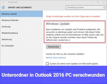 Unterordner in Outlook 2016 PC verschwunden