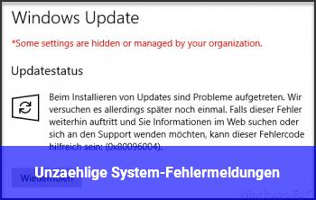 Unzählige System-Fehlermeldungen