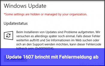 Update 1607 brincht mit Fehlermeldung ab