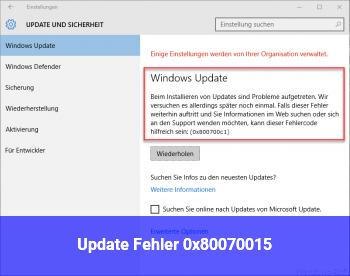 Update Fehler 0x80070015