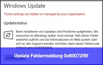 Update Fehlermeldung 0x80072f8f