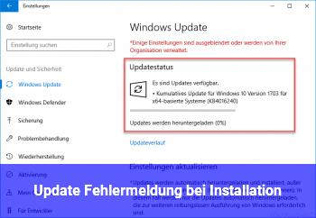 Update Fehlermeldung bei Installation