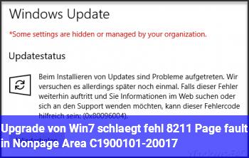 Upgrade von Win7 schlägt fehl – Page fault in Nonpage Area C1900101-20017
